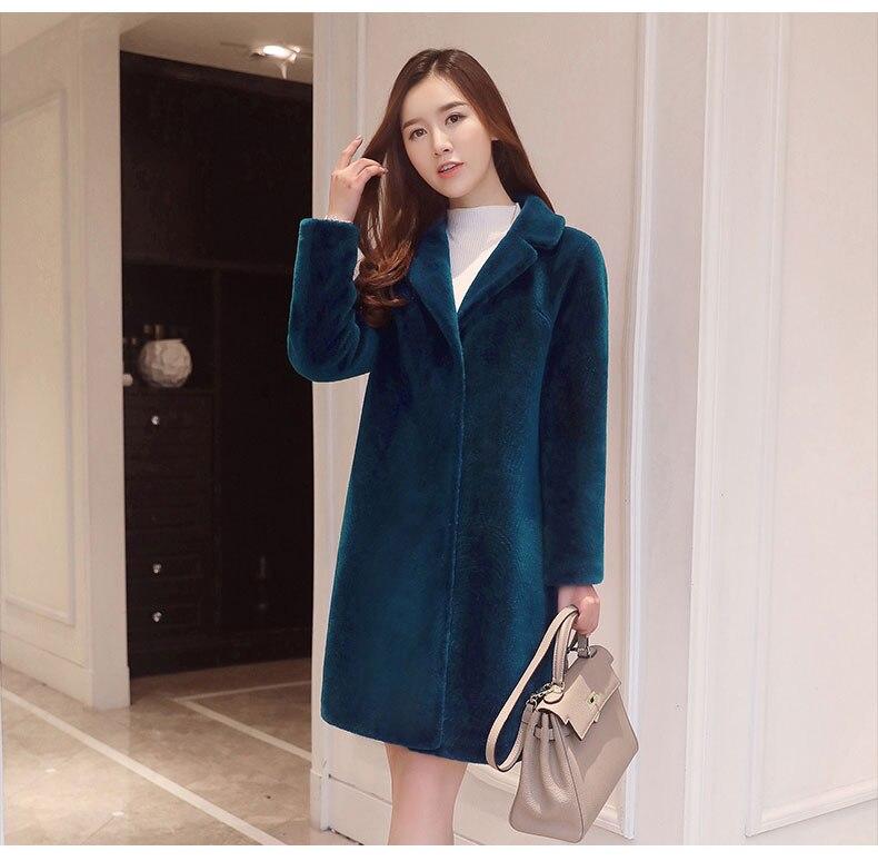 Femmes d'hiver épais manteaux et vestes femme chaud naturel Moutons Mérinos Fourrure occasionnel plus la taille femelle moyen manches longues outwears