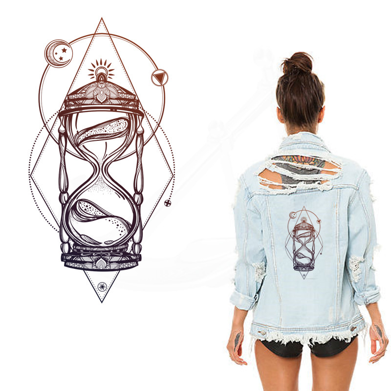 2017 New Europe Style Hourglass Patches For Clothing Jacket T-shirt Hoodies And Denim Jacket Thermal Transfer Can Washing