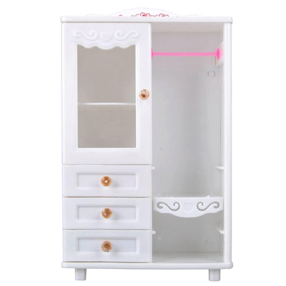 LeadingStar White Plastic Living Room Wardrobe Furniture Drawers Can Be Opened Toy Accessories for Doll House