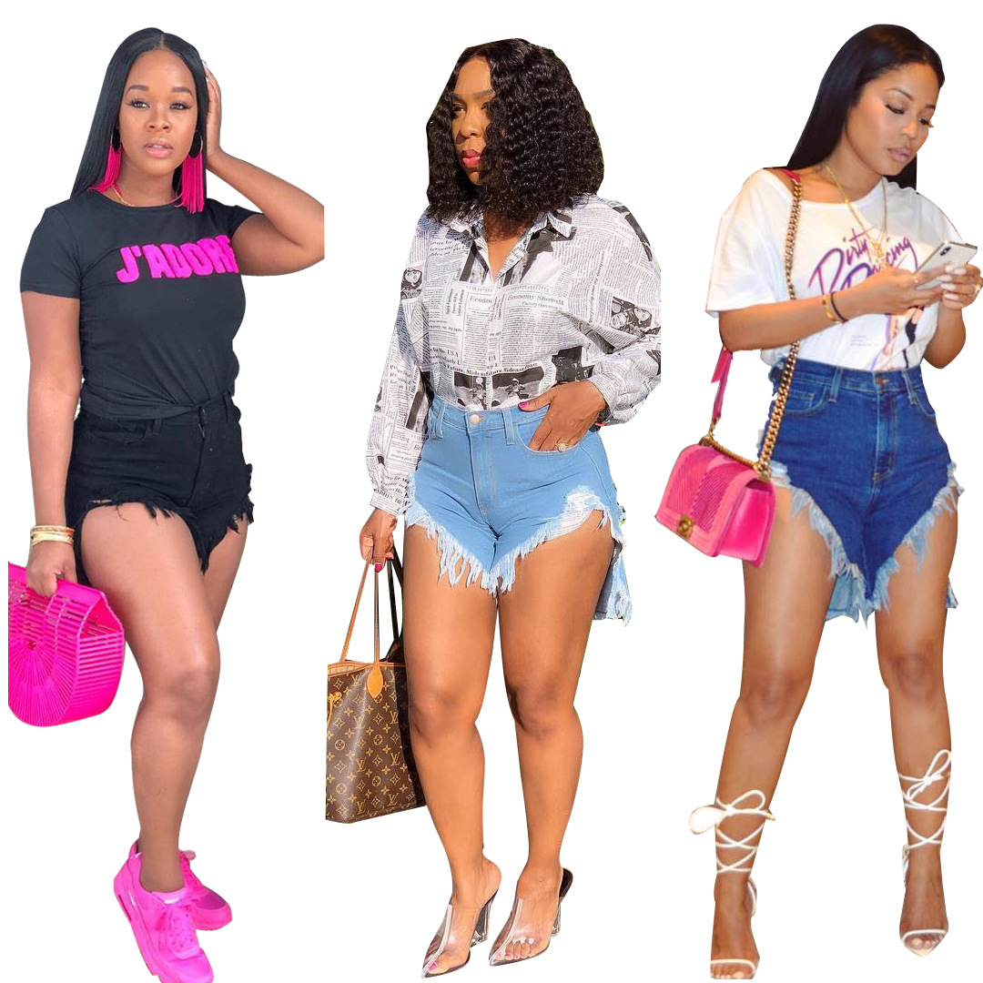 3 Color High Force Elastic New Personality High Waist Old Worn Broken Fringed Side Retro Wind Denim Shorts Female 5 Size