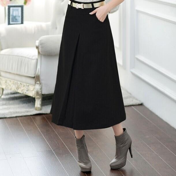 Europa & América Do Novo Inverno Saia 2016 das Mulheres da Moda Outono Longo de Lã Saias A Linha de Saias De Lã 5 Cores Casuais enviar cinto G56