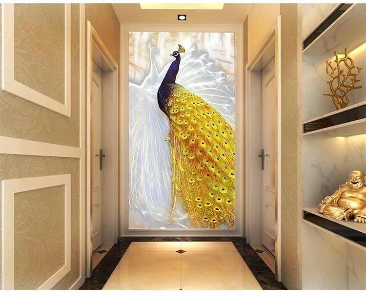 HD Peacock Couple Canvas Painting Golden Tail Peafowl Picture Home Decor Wall Poster Pictures Wall Art Print No Frame