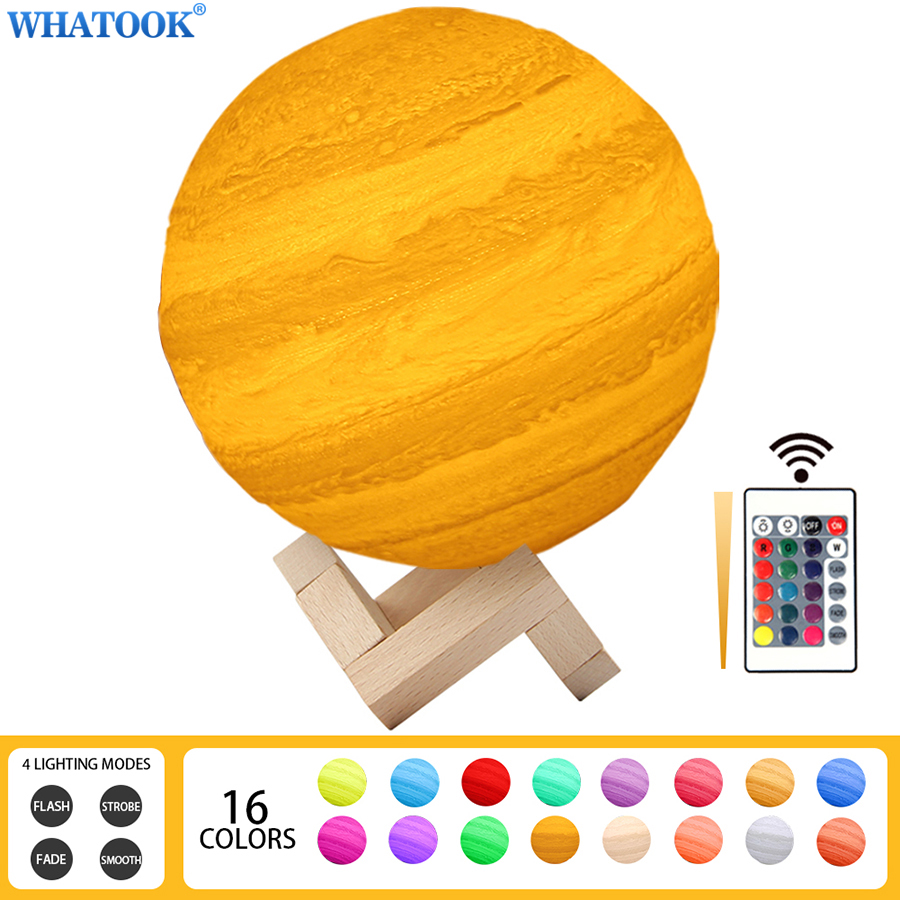 3D Print Jupiter Lamp Moon Night Light Rechargeable Color Change Nightlight Touch Tap 3D LED Novelty Light Bedroom Baby Gifts magnetic floating levitation 3d print moon lamp led night light 2 color auto change moon light home decor creative birthday gift