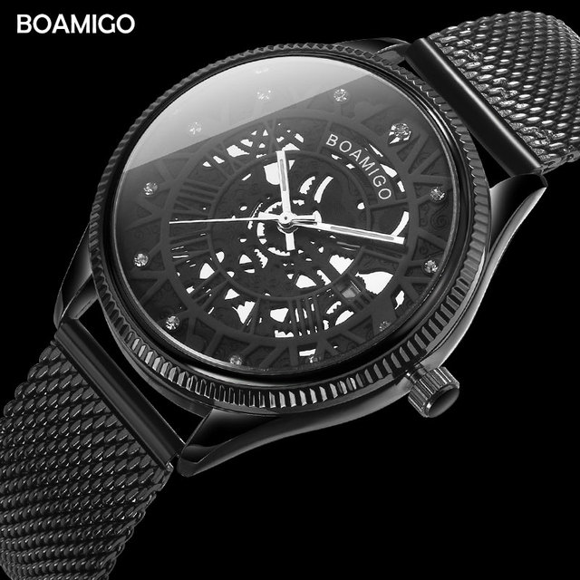 BOAMIGO מותג גברים קוורץ שעון אופנה שלד זכר שחור Milane רשת פלדה בנד אוטומטי תאריך שעוני יד שעון relogio masculino