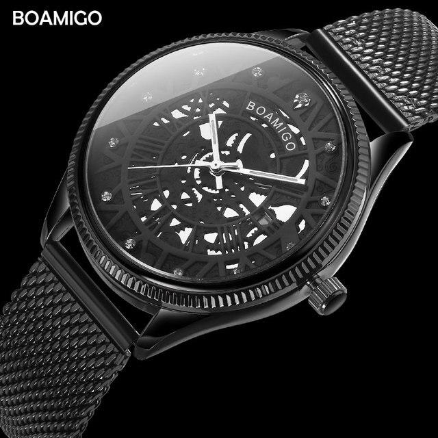 Bomigo montre à quartz pour hommes, de marque, à la mode, avec squelette, noire, maille, bracelet en acier, date automatique