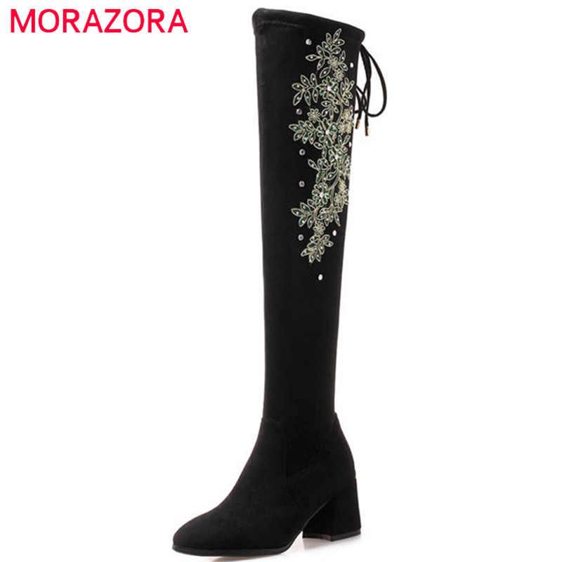 MORAZORA 2018 big size 34-43 over the knee boots women flock leather high heels boots autumn winter shoes thigh high booties morazora plus size 34 44 classic fashion flock nubuck leather knee high boots women winter snow high heels platform boots shoes