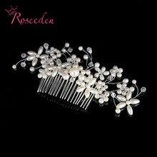 New arrival silver Rhinestone Hair combs handmade Bridal headband women pearl hairpin wedding hair ornament accessories RE707