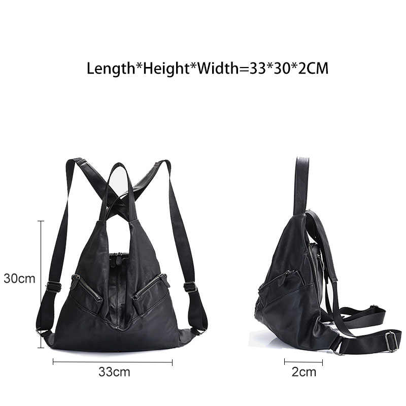 Zency Unique Style Women Backpack 100% Cowhide Genuine Leather Fashion Travel Bag Black Lady Knapsack Girl's Schoolbag Notebook
