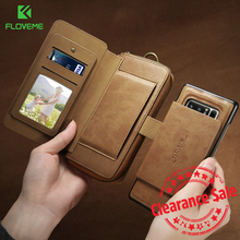 FLOVEME Business Wallet Phone Cases For Samsung Galaxy S8 S7 S6 Edge Plus Case Luxury Retro Leather Case For Samsung Note 8 5
