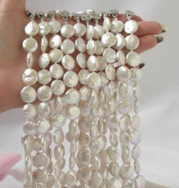 Bijoux 004279 10 pièces 14mm pièce de monnaie collier de perles d'eau douce blanche