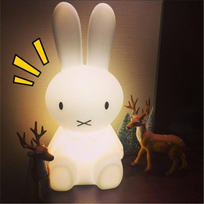 Christmas Gift 30/50/80cm Rabbit decor lamp feeding light LED children large night light sleep baby bedroom bedside lovely lamp creative cute green cartom car led night light for children baby kids white warm white bedside lamp resin night lamp gift
