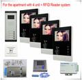 4 Apartments Video door phones intercom systems 4 keys outdoor unit  + Electronic lock + Access Control ID Card Password System