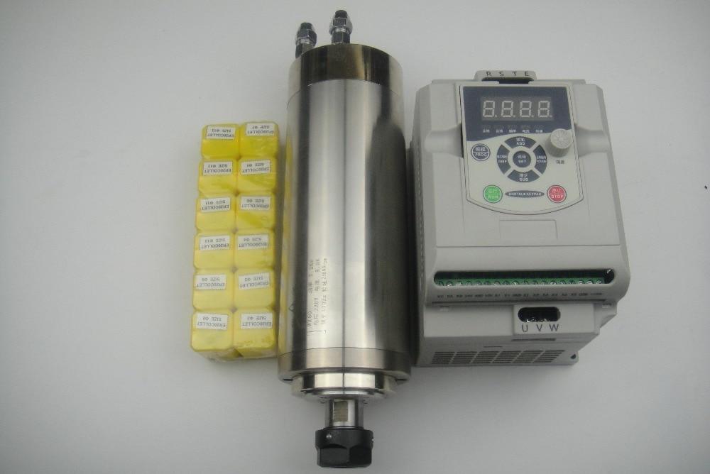 Mandrino di fresatura CNC ER20 Mandrino di raffreddamento ad acqua 2.2KW + 1 pezzo Inverter 2.2KW +12 pezzi Pinze ER20