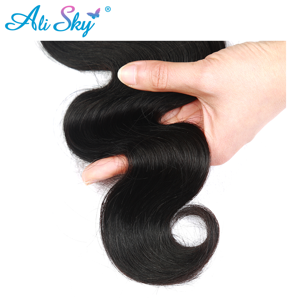 Ali Sky Hair Peruvian nonremy Hair Body Wave 8-26 1pc Human Hair Bundles Weave Natural Color 1B# for Black Women Can Be Curled