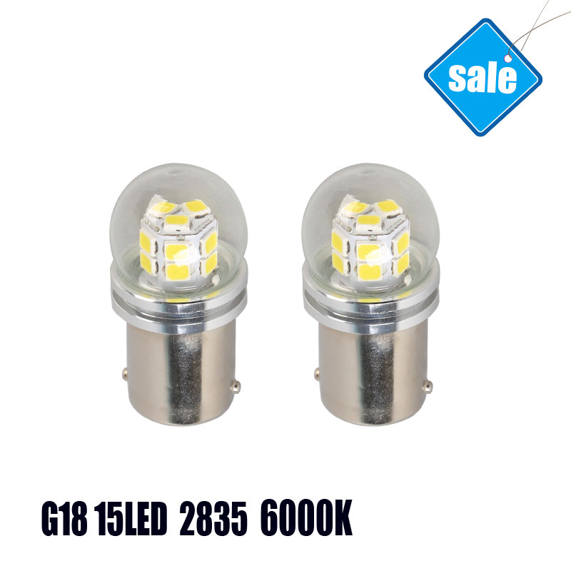 Pair Sale G18 15SMD BA15D Trucks Auto LED Front Rear Turn Signals Wholesale 6000K WhiteLED Lights Car Bulbs Lamp