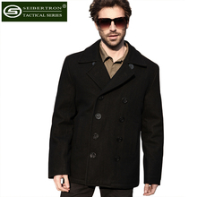 Seibertron Brand Winter Men's Woolen Coat US Navy Type 80% Wool USN Pea Coat Black and Blue Color Warm Anti-sweat Coat