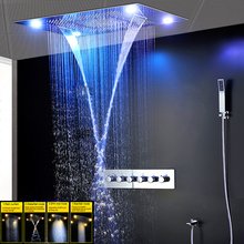Modern Large Waterfall Shower Faucets Set Spa Ceiling Rainfall LED Electric Hot and Cold High Flow Mixing Valve