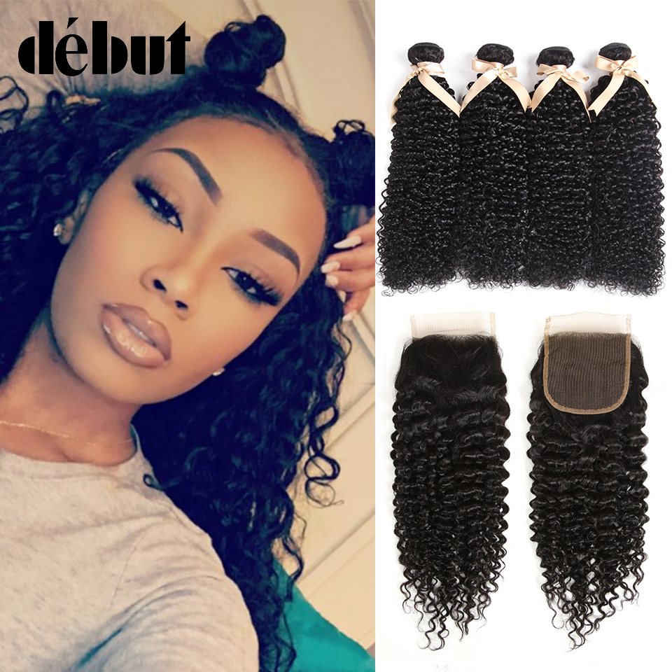 Clover Leaf Brazilian Afro Kinky Curly Hair 3 Bundles With Lace Closure Remy Human Hair Bundles With 4*4 Lace Closure 8-28 Inch Modern Techniques Human Hair Weaves Hair Extensions & Wigs