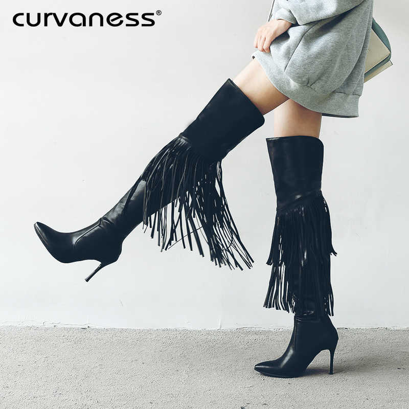 b1e2395ebf26 Curvaness Ladies Boots Autumn Tassel Shoes Sexy Over The Knee Boots Fringe  Black Brown Thin High