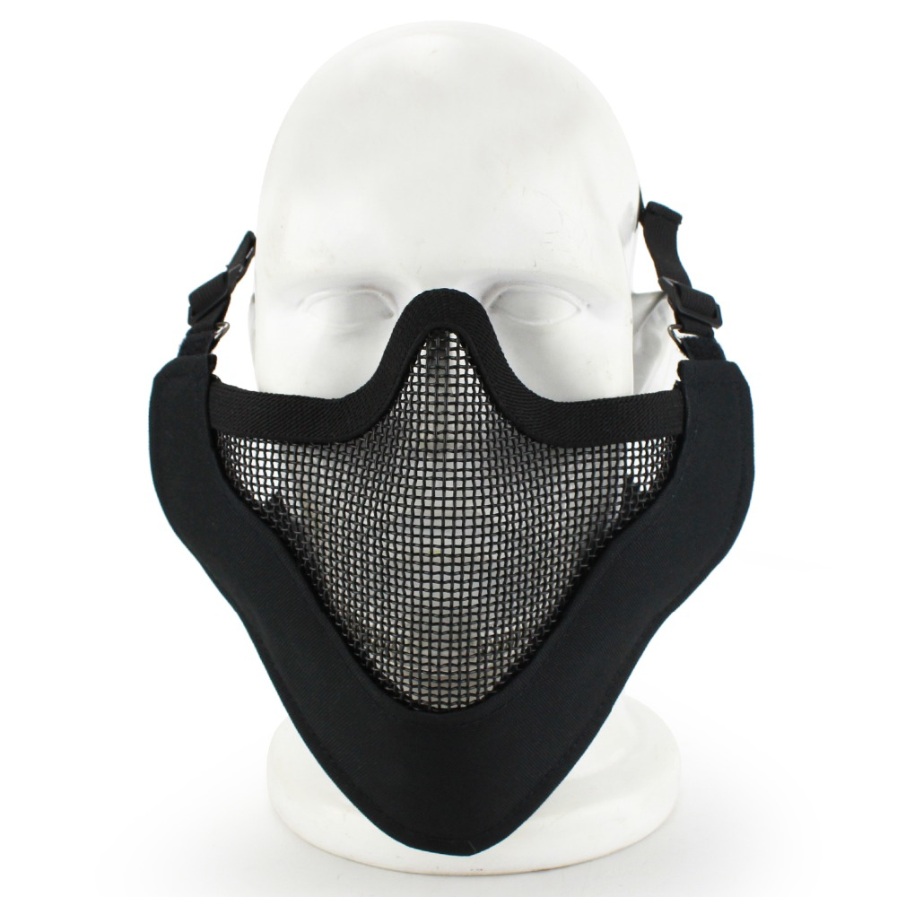 Tactical CS Half Mask Metal Steel Net The Field Elite Ear Protection Outdoor Cycling Steel Tactical Mask