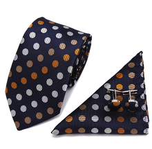 Men`s Tie Colorful Polka dot  Novelty 100% Silk Gravata Hanky Cufflink Set For Men Formal Wedding Party Groom Business tie