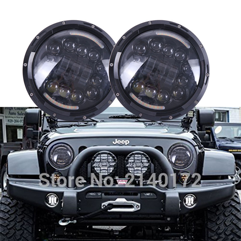 7'' INCH LED Projector headlight Motorcycles Round 90W Hi/Low beam with White DRL Amber Turn  signal lights for Jeep Wrangler JK 2pcs 7 inch round led headlight with white amber lighting color drl 7 high low beam headlamp for jeep wrangler