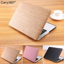 Carry360 lujo de madera del grano de la pu estuche de cuero portátil para macbook air 13 case para apple mac book pro 13 cubierta pro retina 13.3 pulgadas