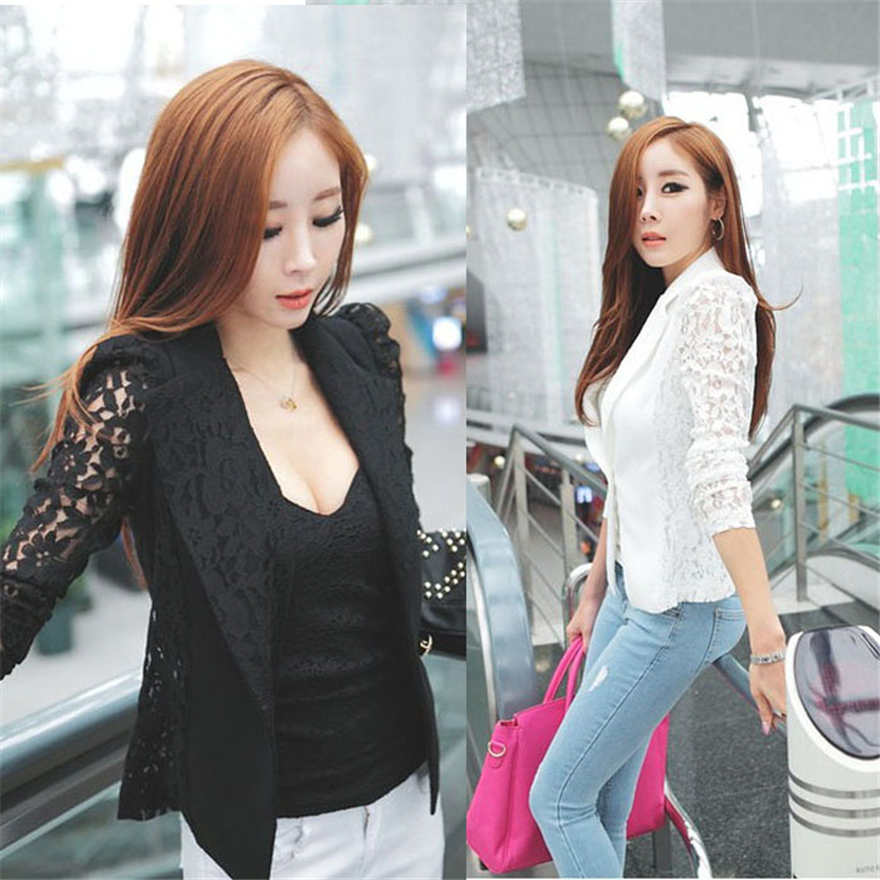 Small Jacket Coat Office-Clothes Lace Crochet Long-Sleeve Korean Sexy Fashion Women No