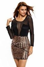 Fashion new Woman clothing Clubwear Ladies see-through patchwork club Long Sleeves Bodycon Mesh Shadow Sequin Bottom Dress 22804
