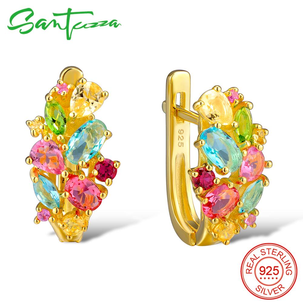 SANTUZZA Silver Earrings For Women 925 Sterling Silver Stud Earrings Silver 925 with Colorful Natural Stones brincos Jewelry    SANTUZZA Silver Earrings For Women 925 Sterling Silver Stud Earrings Silver 925 with Colorful Natural Stones brincos Jewelry