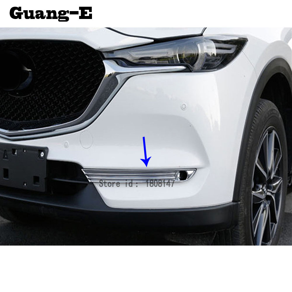 Car Body Front Fog Light Lamp Detector Frame Stick ABS Chrome Cover Trim Parts For <font><b>Mazda</b></font> CX-5 <font><b>CX5</b></font> 2nd Gen 2017 2018 <font><b>2019</b></font> 2020 image