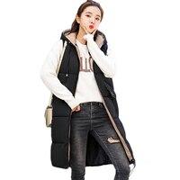 Winter Vest Jacket Women Waistcoat Woman Winter Coat 2018 Women Down Cotton padded Hooded Long Ladies Outerwear Keep Warm D119