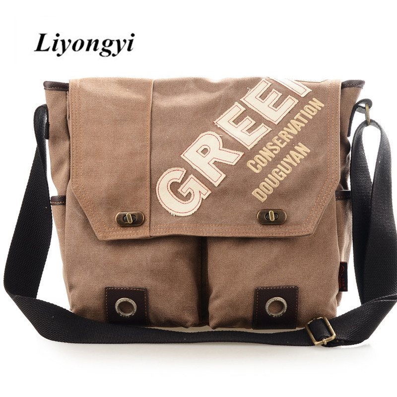 Canvas 9.6L Leisure Shoulder Bag for Men Letter Print Perppy Style Soft Zipper&Hasp Crossbody Messenger Bags Free Shipping free shipping 2014 boom bag leisure contracted one shoulder bag chain canvas bag