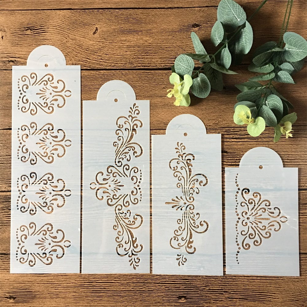 4Pcs/Set 33cm Flower Edge DIY Layering Stencils Wall Painting Scrapbook Coloring Embossing Album Decorative Template