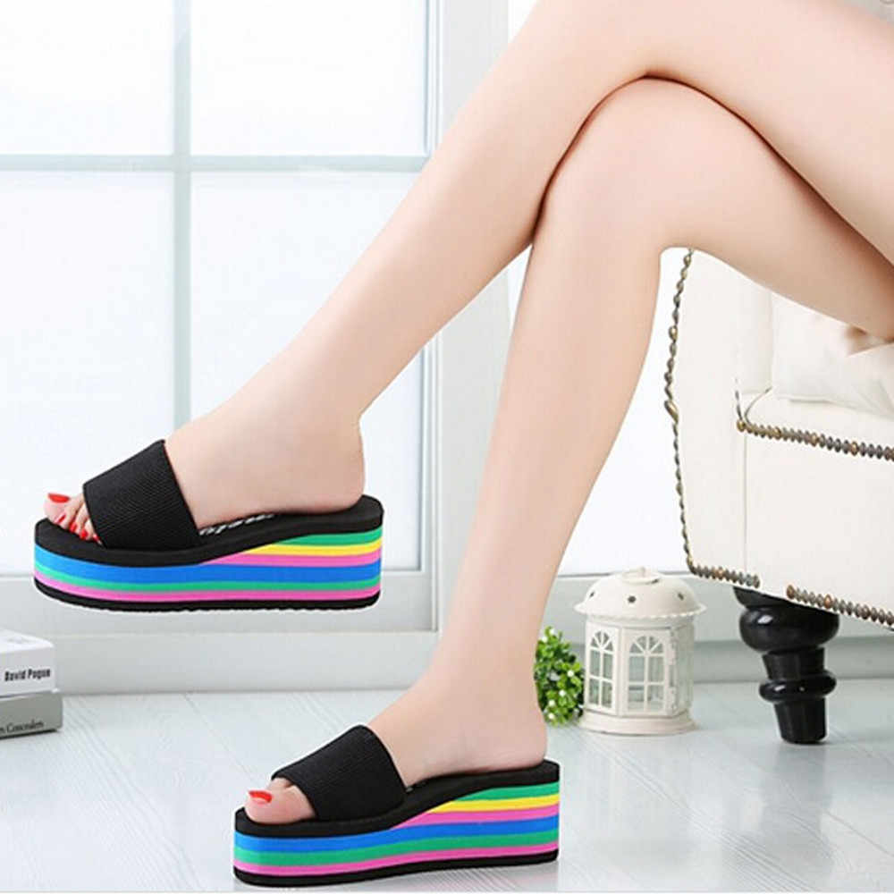 dec1bfb82 new Women Rainbow Summer Non-Slip Sandals Female Beach Slippers 2018 Summer  Women Shoes High