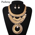Pusheng Bohemia Statement Jewelry Women Crystal Rhinestone Tassels Choker Necklace + Earrings Gold Plated Pendant Maxi Necklace