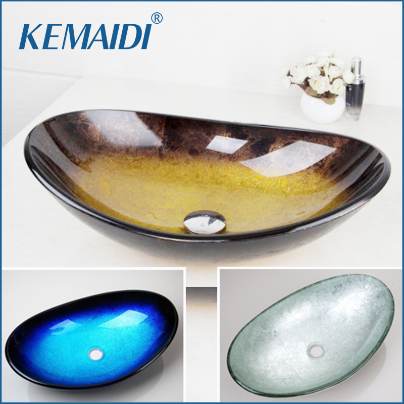 KEMAIDI Yellow Tempered Glass Hand Painted Waterfall Spout Basin Black Bathroom Sink Washbasin With Overflew Pop Drain
