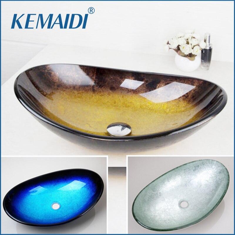 Kemaidi amarelo vidro temperado pintados à mão cachoeira bico bacia pia do banheiro preto lavatório com sobrevoar pop dreno
