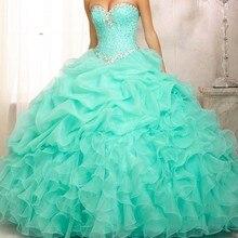 Дешевые Бальные платья сладкий 16 длинное цвет Зеленая мята/Розовый Бальные платья с курткой для Бальные 15 лет Vestidos De 15 Anos