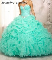 Cheap Ball Gowns Sweet 16 Long Mint Green/Pink Quinceanera Dresses With Jacket For Quinceanera 15 Years Vestidos De 15 Anos 2019