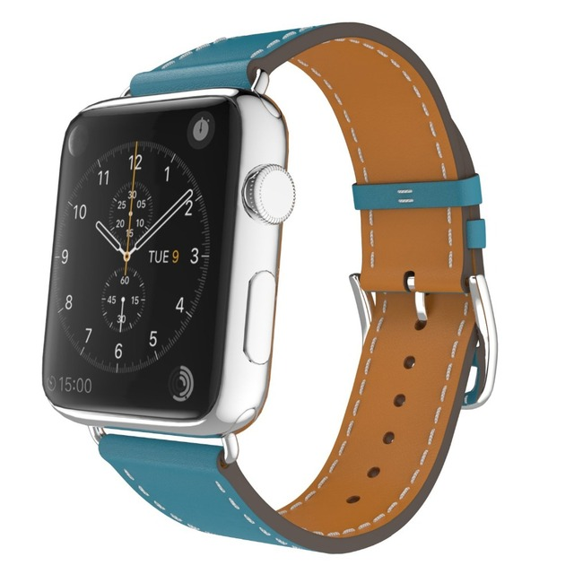 For Apple Watch Band Leather Blue Luxury Genuine Watchband Bracelet Replacement Wrist Band with Adapter Clasp for iWatch Strap