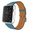 Para apple watch banda de cuero azul de lujo genuino correa de reloj de pulsera de reemplazo correa de cierre para iwatch wrist band con adaptador
