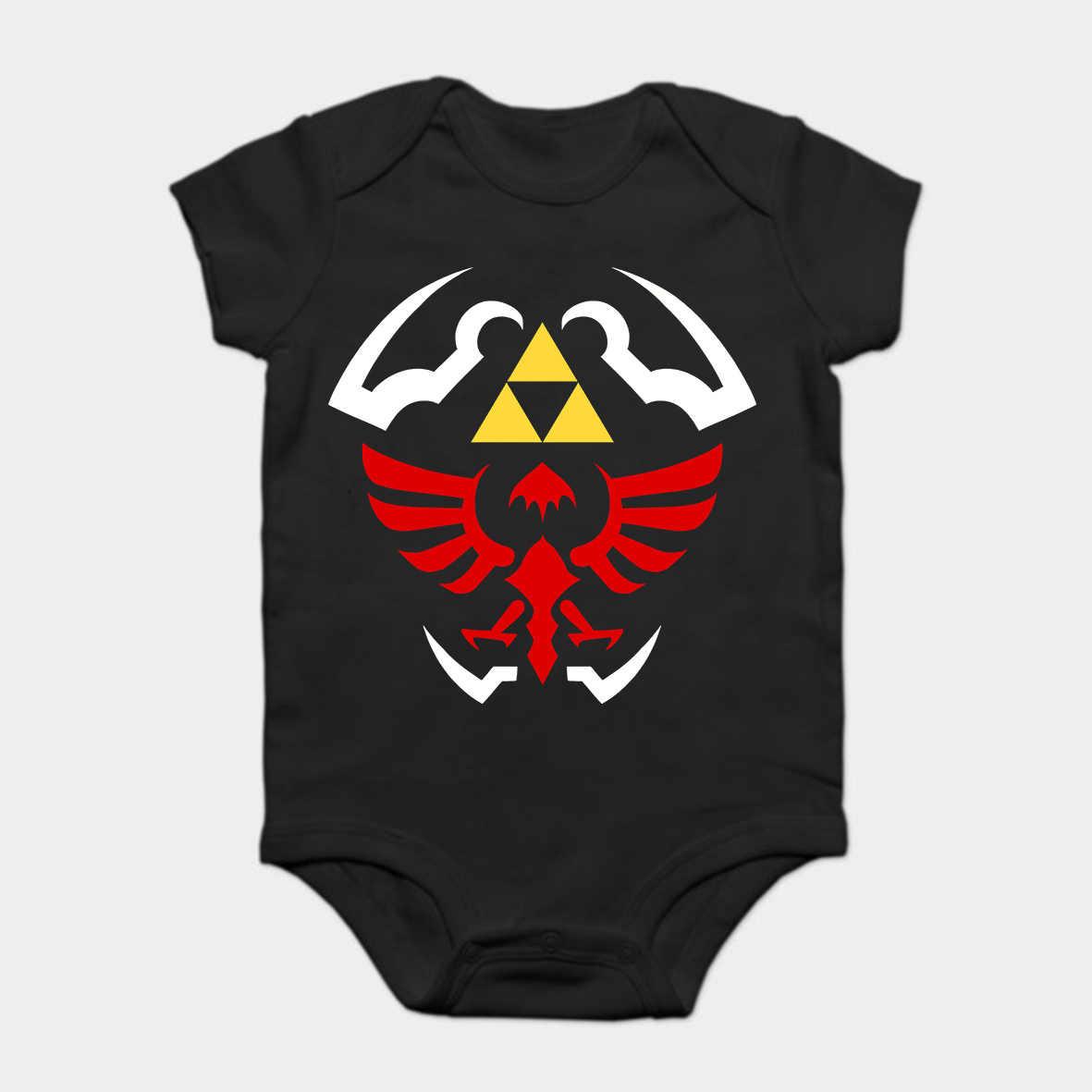 Bebê macacão bebê bodysuits criança t camisa moda legal engraçado hylian escudo-lenda de zelda personalizado impresso