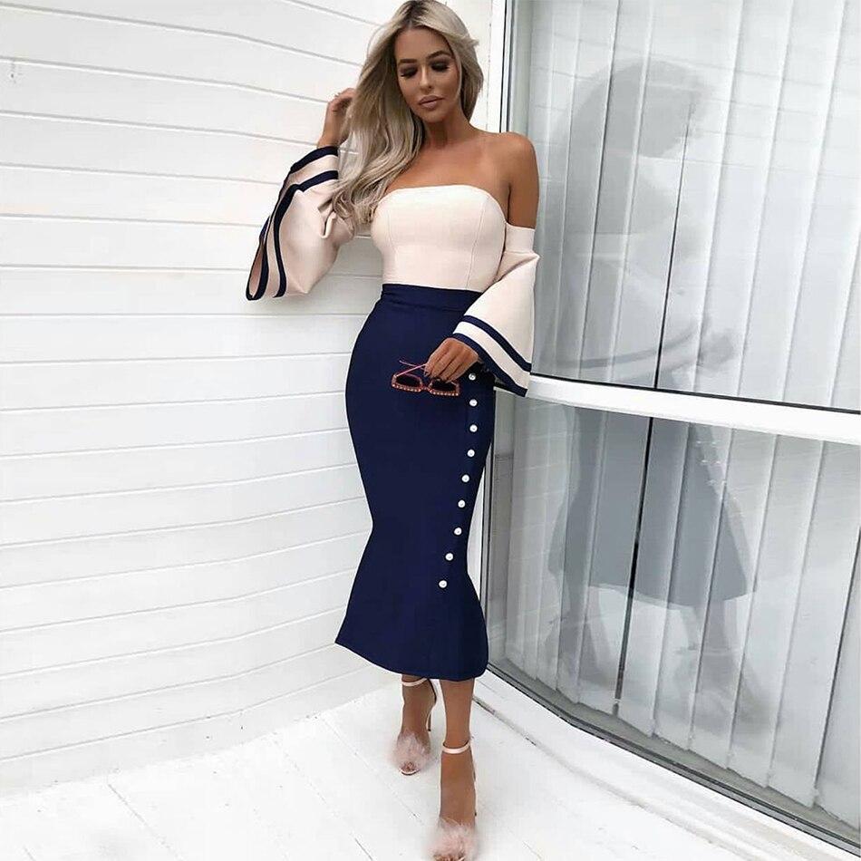 2019 printemps Sexy femmes longue Bandage robe à manches longues sans bretelles sirène moulante robe célébrité robe de soirée robes