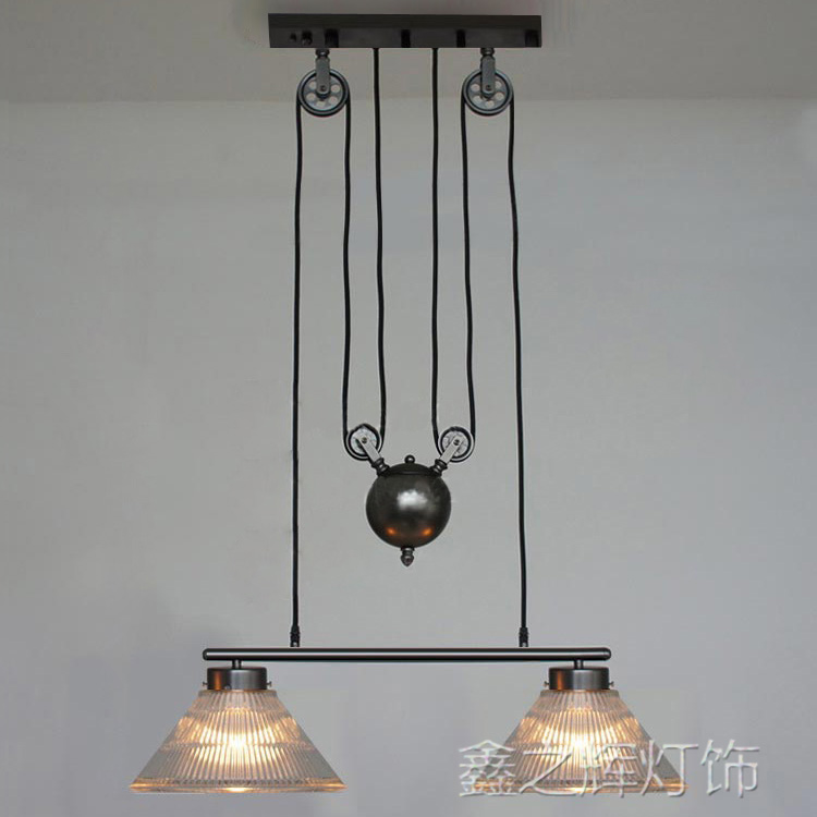 Loft RH industrial style Lifting pulley pendant light lamp adjustable glass restaurant bar hanging light edison loft style vintage light industrial retro pendant lamp light e27 iron restaurant bar counter hanging chandeliers lamp