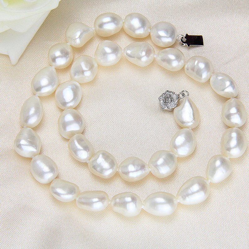 Unique Pearls jewellery Store,Baroque Pearl Necklace,20inches White Color 11-12mm Genuine Freshwater Pearl Jewelry,Wedding GiftUnique Pearls jewellery Store,Baroque Pearl Necklace,20inches White Color 11-12mm Genuine Freshwater Pearl Jewelry,Wedding Gift