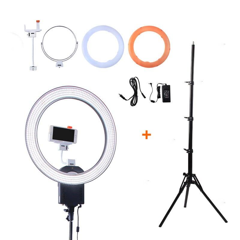NanGuang CN-R640 Photographie/Photo/Studio/téléphone 19 640 LED 5600 k Dimmable Caméra Anneau Vidéo Lumière lampe & Trépied Stand/Miroir