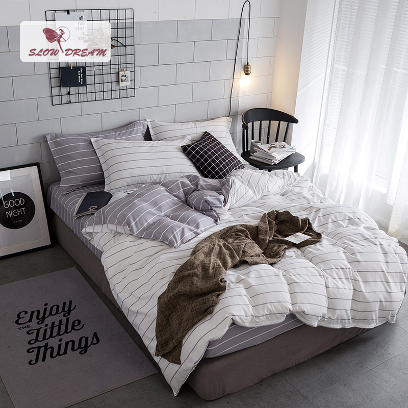 SlowDream Simple Stripes Bedding Set White And Gery Duvet Cover Set Twin Full Queen King Size Active printing 4pcs Bedclothes