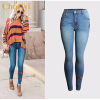 CbuCyi Stretch Pencil Pants Women's Clothing Denim Jeans Plus Size 4XL High Waist Slim Embroidery Denim Trousers Pants for Girl