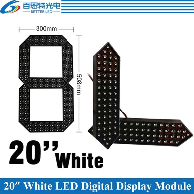 """4 pçs/lote 20 """"Cor Branca Ao Ar Livre 7 Sete Segmentos LED Número Digital Do Módulo para o Preço Do Gás CONDUZIU a Exposição módulo"""